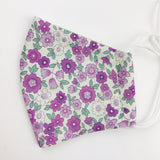 "SMALL CHILD ""EarLoop"" cotton face mask- tiny purple flower"