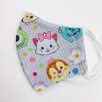 "CHILD ""EarLoop"" cotton face mask- tsum tsum grid"