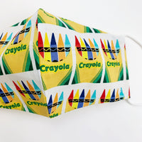 "ADULT ""Ear Loop"" cotton face mask- crayola crayons"
