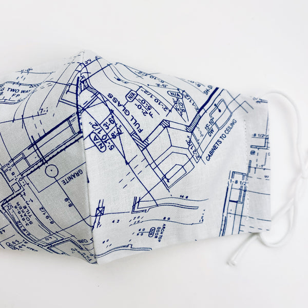"ADULT ""Ear Loop"" cotton face mask- blueprints"