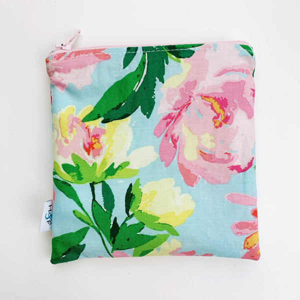 MEDIUM 'square' ReUsable Snack Bag - blue pink floral