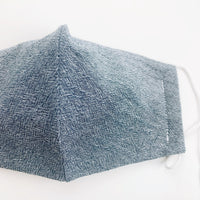 "ADULT ""Ear Loop"" cotton face mask- textured denim blue"
