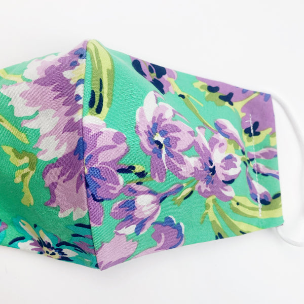 "ADULT ""Ear Loop"" cotton face mask- purple green floral"