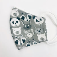 "SMALL CHILD ""EarLoop"" cotton face mask- monotone animals"