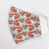 "SMALL CHILD ""EarLoop"" cotton face mask- fox"