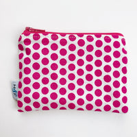 SMALL ReUsable Snack Bag - pink white dot