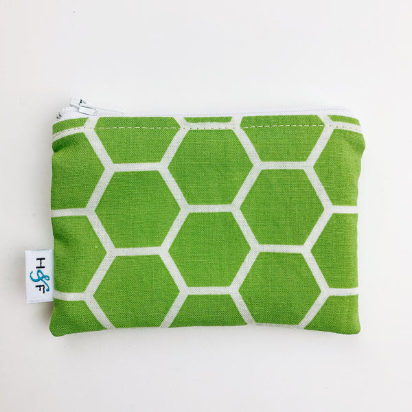 SMALL ReUsable Snack Bag - spring green honeycomb