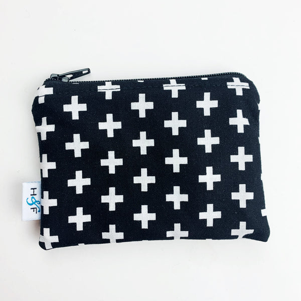 SMALL ReUsable Snack Bag - black and white cross