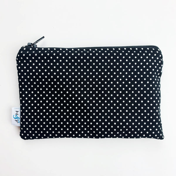 MEDIUM ReUsable Snack Bag - black and white dot