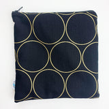 LARGE ReUsable Snack Bag - black and gold circles