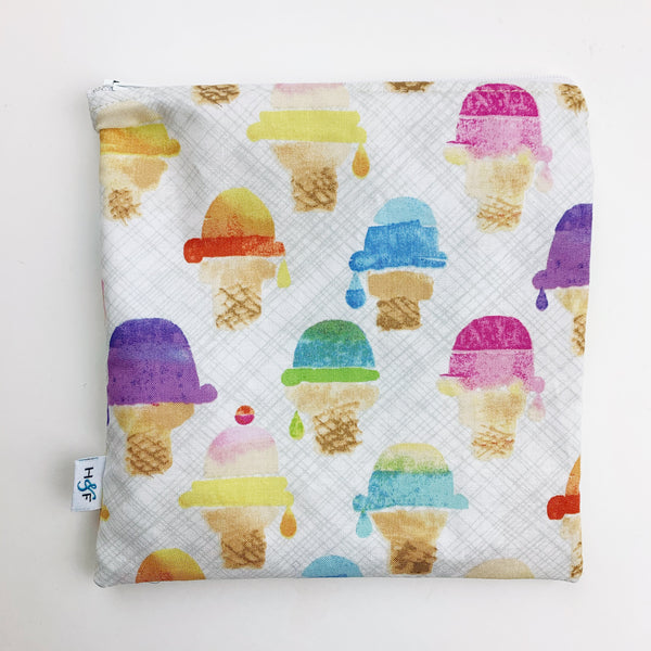 LARGE ReUsable Snack Bag - watercolor ice cream