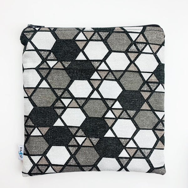LARGE ReUsable Snack Bag - black and grey geometric