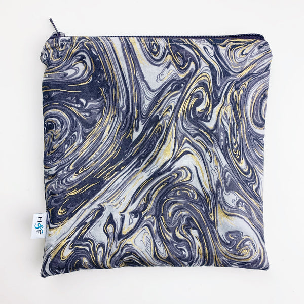 LARGE ReUsable Snack Bag - slate and gold marble