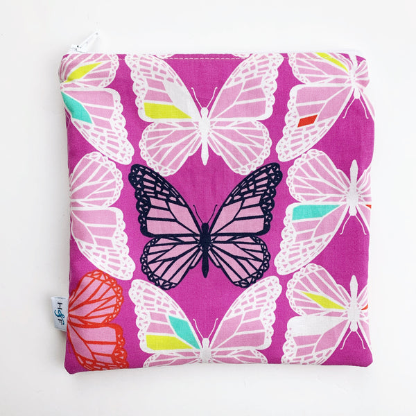 LARGE ReUsable Snack Bag - butterflies pink
