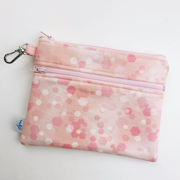 Mask Bag - Large double zip - pink bokah