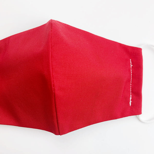 "CHILD ""EarLoop"" cotton face mask- red solid"