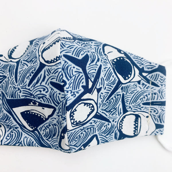 "SMALL CHILD ""EarLoop"" cotton face mask-sharks"
