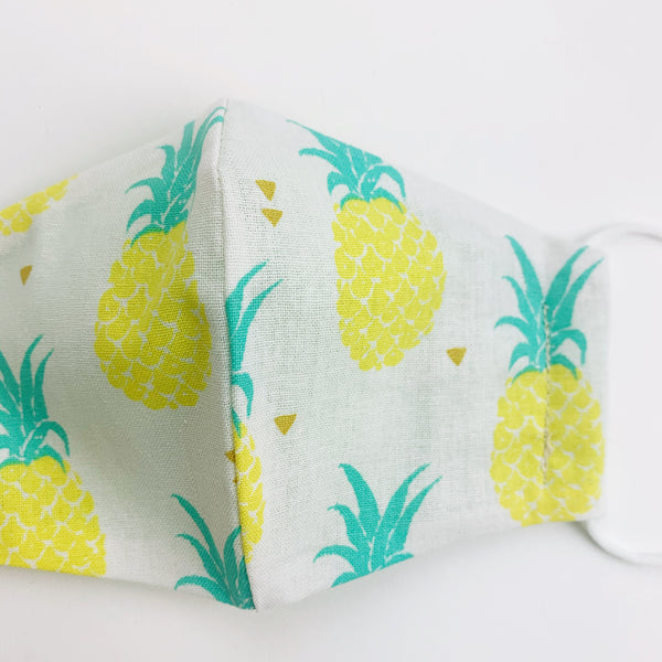 "SMALL CHILD ""EarLoop"" cotton face mask- pineapple"