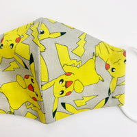 "SMALL CHILD ""EarLoop"" cotton face mask- pokemon grey"