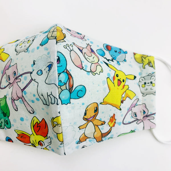 "CHILD ""EarLoop"" cotton face mask- pokemon group"