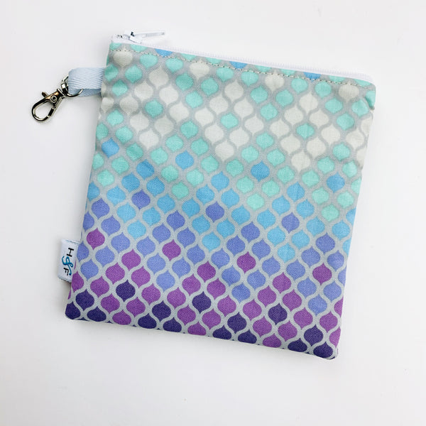 Mask Bag - medium square - aqua purple tile