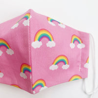 "CHILD ""EarLoop"" cotton face mask- pink rainbow"