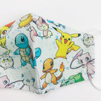 "SMALL CHILD ""EarLoop"" cotton face mask- pokemon group"