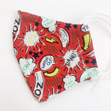 "SMALL CHILD ""EarLoop"" cotton face mask- superhero comic red"