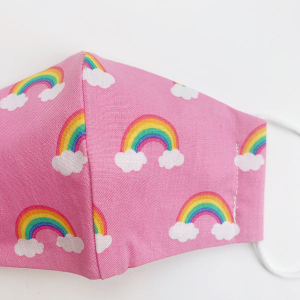 "SMALL CHILD ""EarLoop"" cotton face mask- pink rainbow"