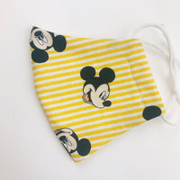 "SMALL CHILD ""EarLoop"" cotton face mask- micky mouse yellow stripe"