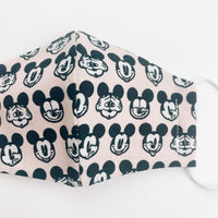 "SMALL CHILD ""EarLoop"" cotton face mask- micky mouse blush pink"