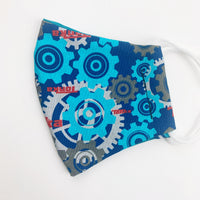 "SMALL CHILD ""EarLoop"" cotton face mask- blue gears tonka truck"