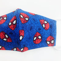 "SMALL CHILD ""EarLoop"" cotton face mask- blue spiderman head"