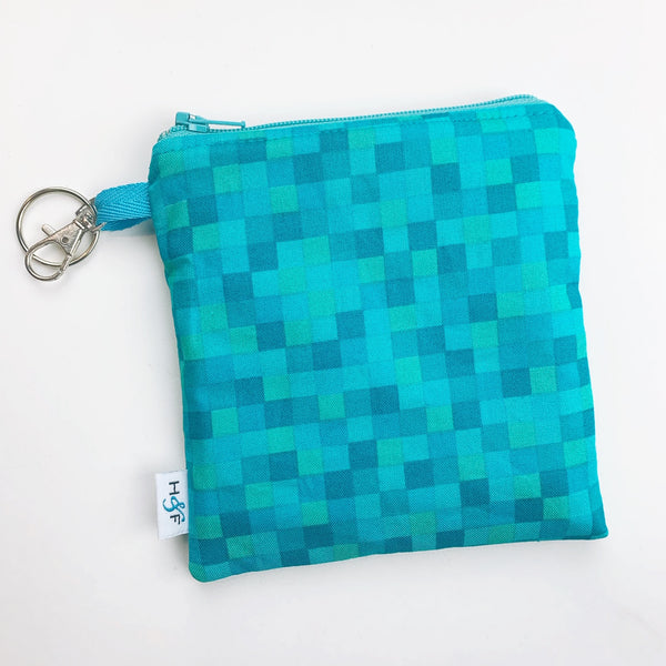 Mask Bag - medium square - blue minecraft squares