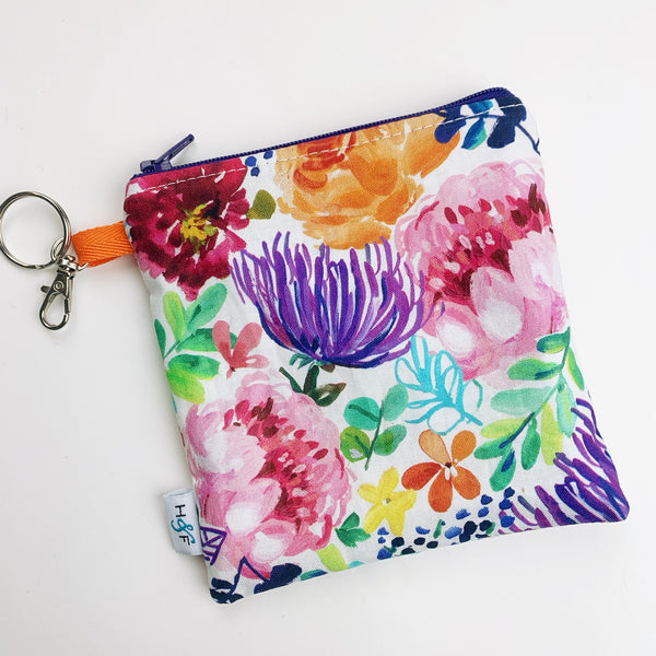 Mask Bag - medium square - rainbow floral watercolor