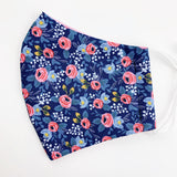 "ADULT ""Ear Loop"" cotton face mask- rifle paper blue pink floral"