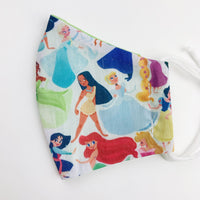 "SMALL CHILD ""EarLoop"" cotton face mask- disney princess group"