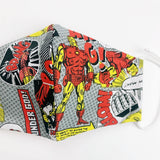 "SMALL CHILD ""EarLoop"" cotton face mask- comic red yellow grey"