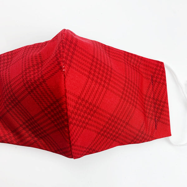 "ADULT ""Ear Loop"" cotton face mask- red plaid"