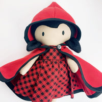 Hierloom Soft doll toy - plaid red cape