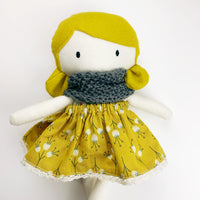 Hierloom Soft doll toy - mustard grey