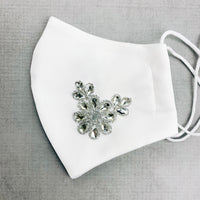 "CHILD ""EarLoop"" cotton face mask- white satin jewel flowers"