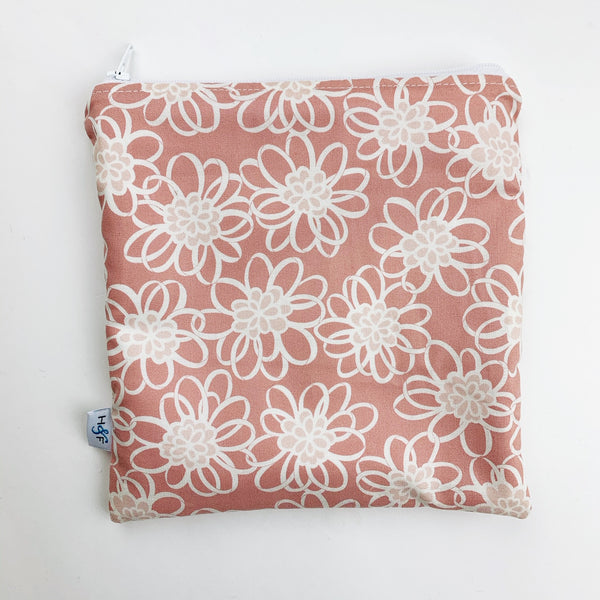 LARGE ReUsable Snack Bag - pink white flower