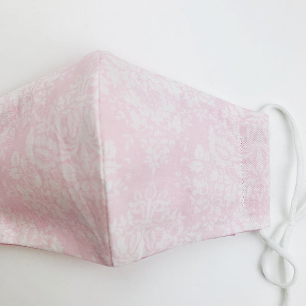 "SMALL CHILD ""EarLoop"" cotton face mask- pink damask"