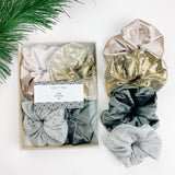 Luxe Scrunchie gift box set - pink grey gold