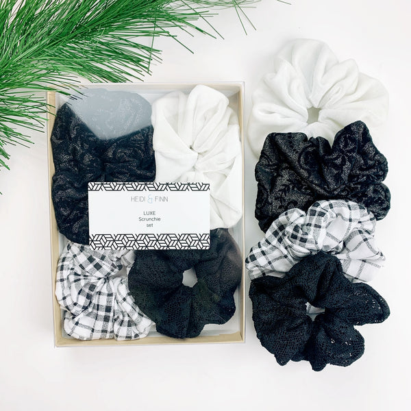 Luxe Scrunchie gift box set - black and white