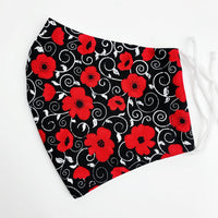 ADULT cotton face mask- Poppies Remembrance day