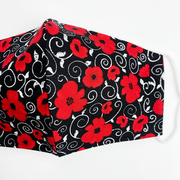 "SMALL CHILD ""EarLoop"" cotton face mask- poppies remembrance day"
