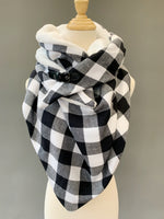 ADULT triangle cowl wrap scarf - black white buffalo plaid