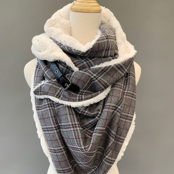 ADULT triangle cowl wrap scarf - grey plaid faux fur
